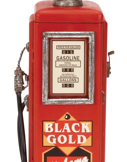 Small Red Gas Pump with Clock