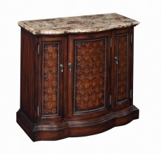 Marble Top Wood Cut-Out Chest