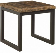 Reclaimed Railroad Wood and Iron End Table