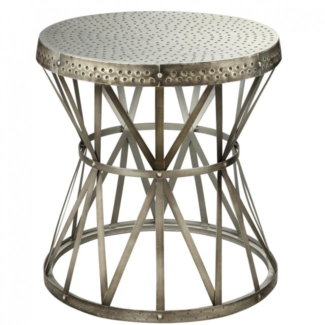 Silver Metal Pocketed Top Side Table