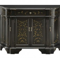 Black Angled Sides with Painted Accent Cabinet