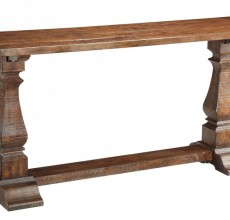 Wood Pedestal Leg Console Table