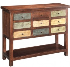 Multicolored Nine Drawer Chest