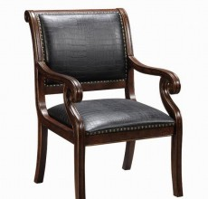 Curved Back Black Leather Accent Chair