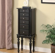 Black Turned Leg Jewelry Armoire