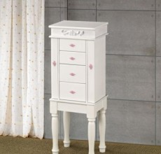 White with Pink Handle Jewelry Armoire