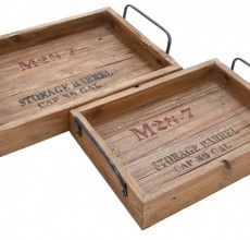 Industrial Wood Tray Set