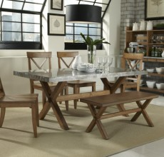 Honey Dining Table with Zink Top and X-Back Chairs