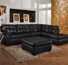 London Black Leather Sectional