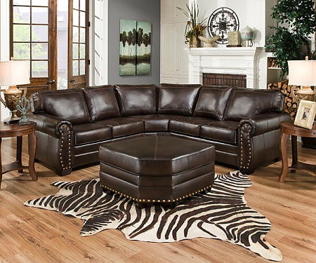 Jackson Leather Sectional with Nail Heads
