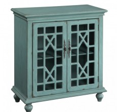 Shannon Small Turquoise Geometric Cabinet