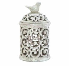 CERAMIC SCROLL BIRD JAR (2 SIZES)
