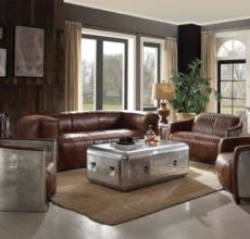 CASTEE RETRO BROWN LEATHER SOFA