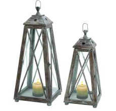 OVERSIZED WOOD & GLASS LANTERNS