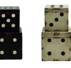 BLACK OR WHITE WOOD DICE STORAGE BOX
