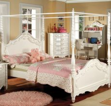 VICTORIA WHITE CANOPY BED